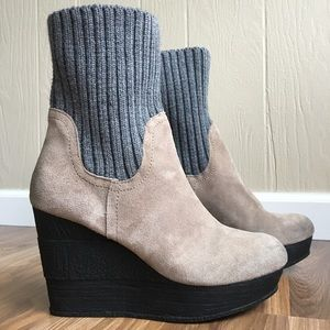 Sbicca Suede Wedges Sock Bootie Symphony Pull On